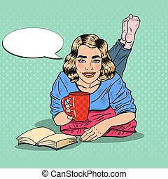 Pop Art Young Smiling Woman Drinking Coffee and Reading Book