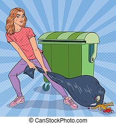 Pop Art Young Woman Holding Trash Bag. Girl with Stinky Garbage Bag. Vector illustration
