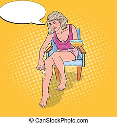 Pop Art Young Woman Making Legs Depilation. Skin Care and Beauty Concept. Vector illustration