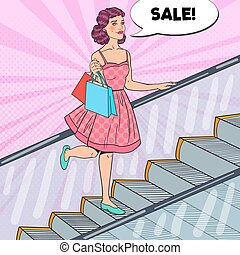 Pop Art Young Woman with Shopping Bags in the Mall. Sale Consumerism. Vector illustration