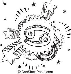 Pop Cancer astrology symbol - Doodle style zodiac astrology...