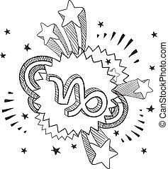 Pop Capricorn astrology symbol - Doodle style zodiac...