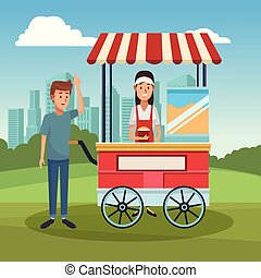 Pop corn booth cart - Customer buying pop corn to booth at...