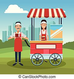Pop corn booth cart with owners cartoons vector illustration...
