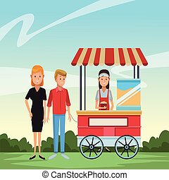 Pop corn business cartoons - Pop corn booth and customers...