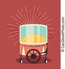 pop corn cart icon - pop corn cart and decorative sunburst...