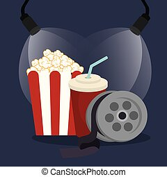 pop corn cinema with reel vector illustration design