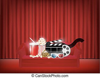 pop corn drink film 3d glasses on a sofa with red curtain background
