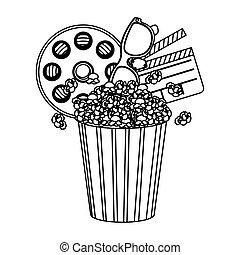 pop corn, film and clipart icon