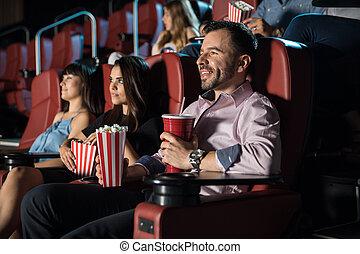 pop-corn, film, gens, manger, regarder