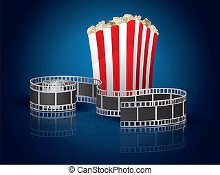 pop-corn, film, tordu, pellicule