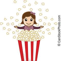 pop-corn,  girl, vecteur