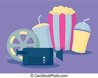 pop-corn, icônes, ensemble, cinéma