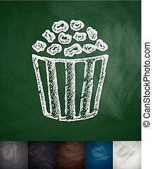 pop corn icon. Hand drawn vector illustration. Chalkboard...