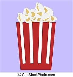 Pop corn, illustration, vector on white background.