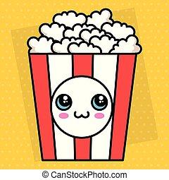 pop corn kawaii character vector illustration design