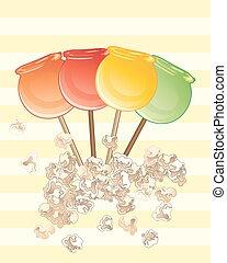 pop-corn, pommes, bonbon