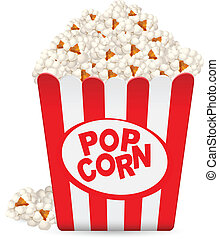 pop-corn, rayé, baquet