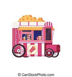 pop-corn, vendange, vente, charrette