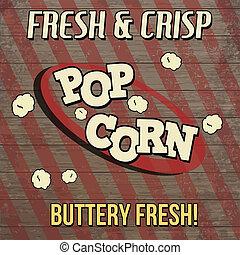 Pop corn vintage poster design on wooden background, vector...