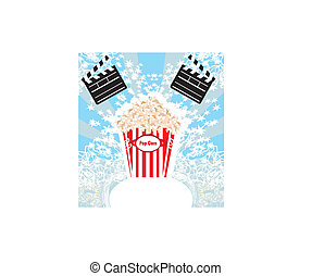 pop corn with clapper board, cinema. abstract card