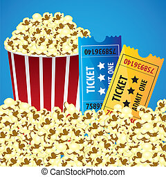 Pop corn with tickets, cine background, ilustracin vectorial