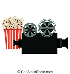 pop corn with video camera vector illustration design