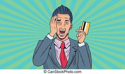 pop, crédit, animation, art, carte, homme affaires