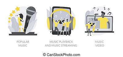Pop culture abstract concept vector illustration set. Popular music, playback recorded audio, official videoclip production, top chart artist, singer tour, musician promotion abstract metaphor.
