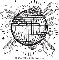 Pop disco ball vector - Doodle style retro disco ball on...