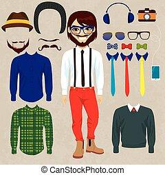 pop, het glimlachen, papier, hipster, man