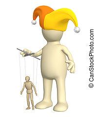pop, het regelen, -, marionet, puppet-clown, kleine, 3d