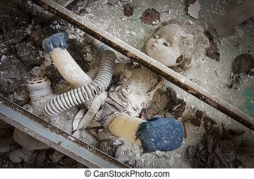 pop, metaal, -, geplaatste, balken, onder, chernobyl