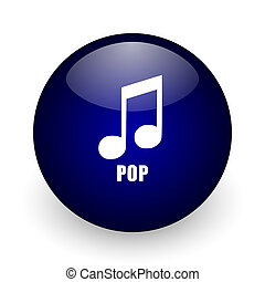 Pop music blue glossy ball web icon on white background. Round 3d render button.