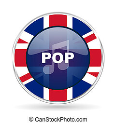 pop music british design icon - round silver metallic border button with Great Britain flag