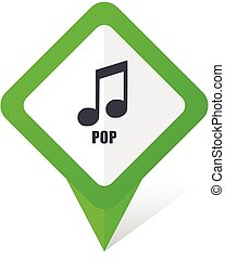 Pop music green square pointer web and mobile phone vector icon in eps 10 on white background with shadow