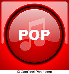 pop music red icon plastic glossy button