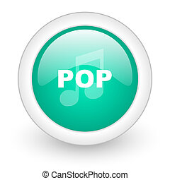 pop music round glossy web icon on white background