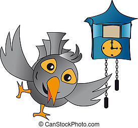 cuckoo clock - pop out cuckoo clocks, clocks with blue-gray...