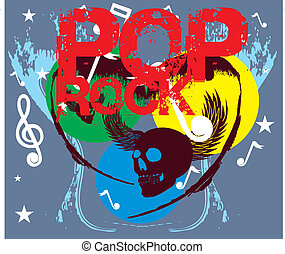 pop rock and skull vector art