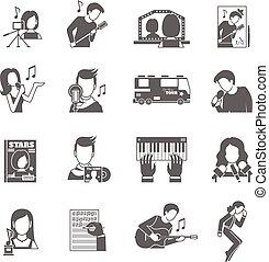 Pop Singer Icons Set