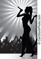 Pop singer performing on stage with - In portfolio also...