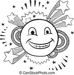 Pop smiley face vector - Doodle style smiley face on pop ...