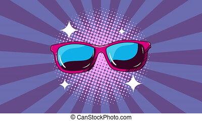 pop, style, animation, lunettes soleil, art