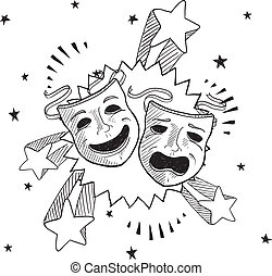 Pop theater masks sketch - Doodle style theater or drama...