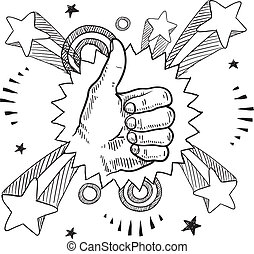 Pop thumbs up sketch - Doodle style sketch of a thumbs up...