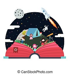 pop up book children illustration space astronout sky spaceship