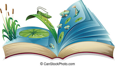 Illustration of a book lives in the pond