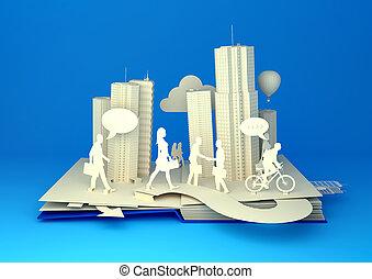 pop-up, könyv, -, elfoglalt, város élet