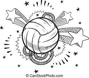 Pop volleyball sketch - Doodle style volleyball sports...